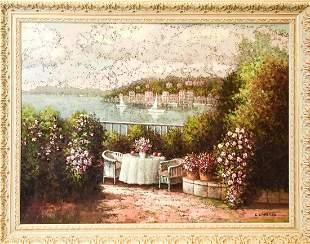 Framed Italian Terrace & Harbor Scene Oil Painting
