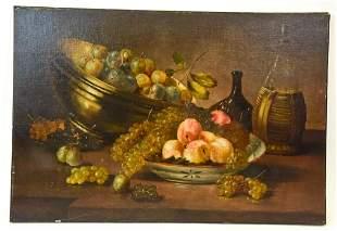 Antique 19th C Fruit Still Life Oil Painting