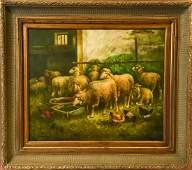 Signed Farm Genre Sheep Scene Oil Painting