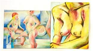 Two Mid Century Modern Nude Female Oil Paintings