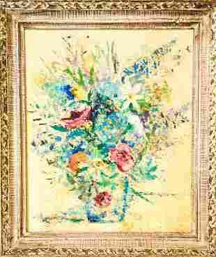 Framed & Signed Flower Still Life Oil Painting