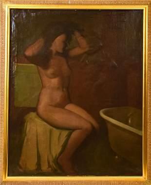 Antique F. A. Bridgman Nude Bather Oil on Canvas