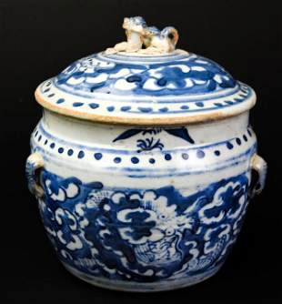 Antique Chinese Canton Blue & White Ginger Jar