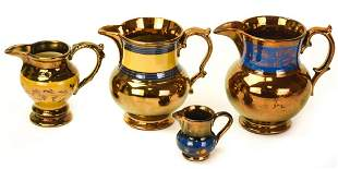 Collection Antique Bronze Lusterware Pitchers