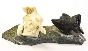 Inuit Style Carved Bone & Hardstone Sculpture
