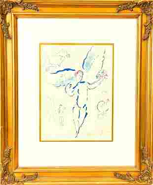 Framed Marc Chagall Winged Angel Color Lithograph