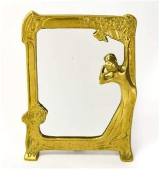 Antique Art Nouveau Gilt Bronze Figural Frame