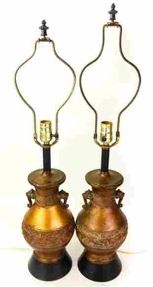 Pair Chinese Copper Toned Vase Form Table Lamps