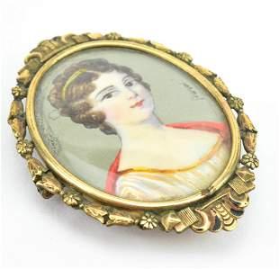 Antique Painted Portrait Miniature Gold Pendant