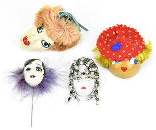 4 Vintage Mask Design Brooches / Pins