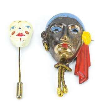 Antique Hand Painted Brooch & Stick Pin