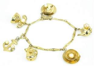 Vintage Gilt Metal Charm Bracelet