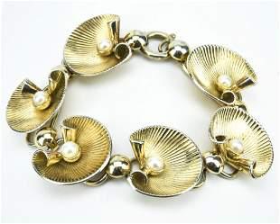 Estate Vermeil Sterling Clam & Pearl Bracelet
