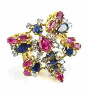 Estate 14 KT Gold Diamond Ruby & Sapphire Ring