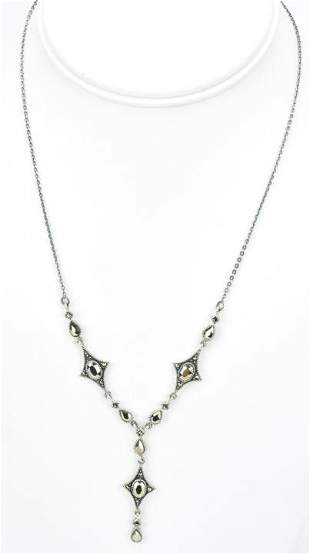 Edwardian Style Sterling Silver Marcasite Necklace