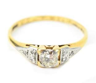 Estate 18 KT Yellow Gold & Diamond Ring