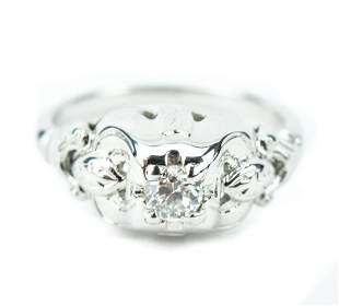 Antique 18 KT White Gold & Diamond Ring