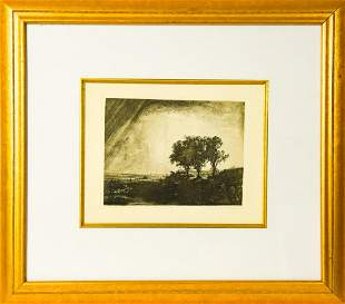 Antique Framed Rembrandt The Three Trees Etching