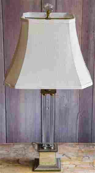 Hollywood Regency Glass & Mirror Table Lamp