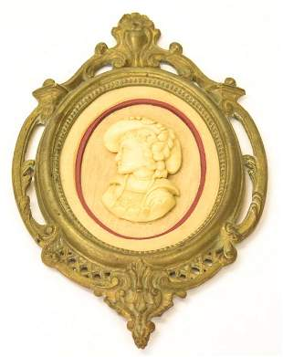 Antique Grand Tour Style Ormolu Frame w Cameo