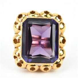 Impressive Estate 14k Yellow Gold Alexandrite Ring