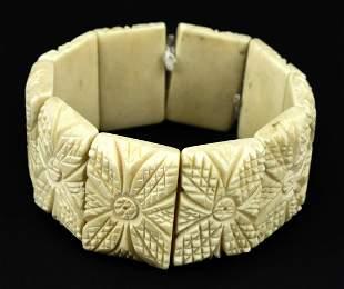 Vintage Floral Carved Bone Panel Bracelet
