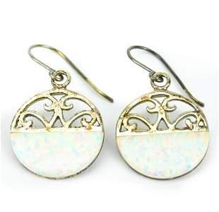 Pair Sterling Silver & Opal Panel Pendant Earrings
