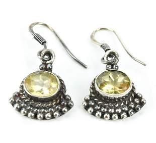 Pair Sterling Silver & Citrine Pendant Earrings