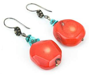 Pair Sterling Silver Coral & Turquoise Earrings