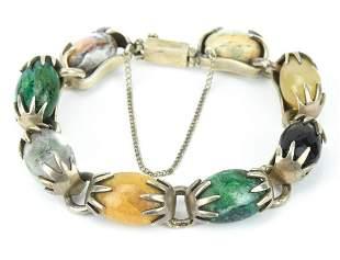 Vintage Mexico Sterling & Stone Handmade Bracelet
