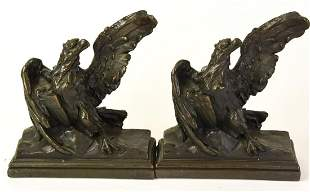 Pair Bronze Tone Bald Eagle Bookends