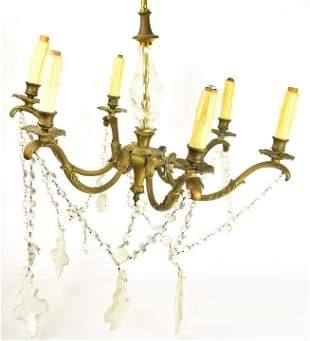 Antique Empire Style Gilt Bronze Chandelier