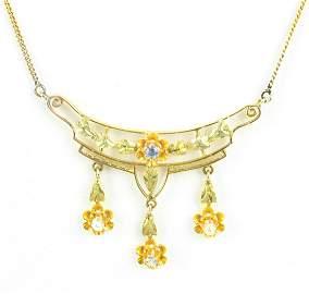 Antique 14kt Gold Diamond Sapphire Pearl Necklace