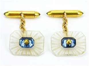 Art Deco 18K Gold Sapphire & Crystal Cufflinks