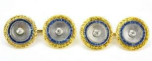 Art Deco 18K Gold Sapphire & Diamond Cufflinks