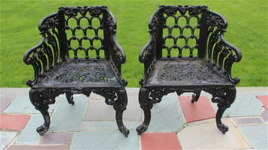Pair Victorian Cast Iron Outdoor Garden Chairs