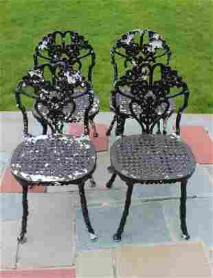 Set Victorian Cast Aluminum Outdoor Garden Chairs