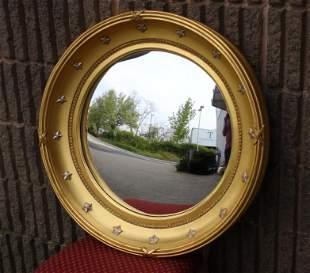 Federal Style Convex Bullseye Mirror w Star Motif