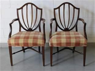Pair Hepplewhite Upholstered Shield Back Armchairs