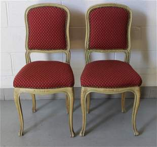 French Provincial Carved Upholstered Dining Chairs