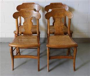 Antique Empire Caned Fiddle Back Dining Chairs