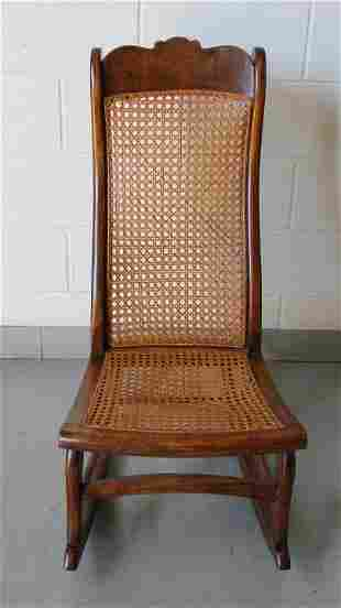 Antique Victorian Carved & Caned Rocking Chair