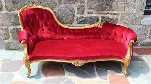 Carved Hollywood Regency Tufted Velvet Chaise