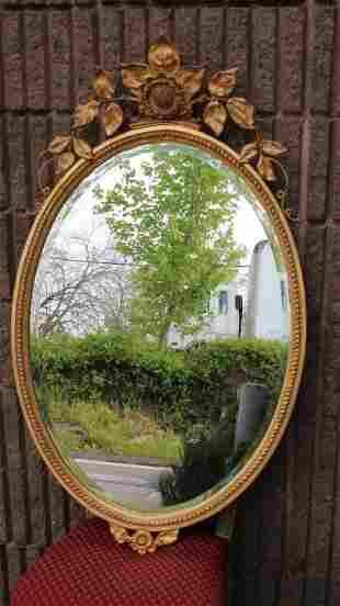 Carver's Guild Oval Carved Gilt Mirror w Sunflower