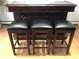 Contemporary Free Standing Marble Top Bar & Stools