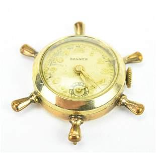 Estate Gold Filled Ship's Wheel Clock Pendant
