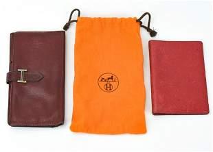 Hermes Red Leather Wallet & Agenda / Bifold