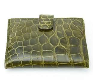 Lambertson Truex Green Alligator Wallet