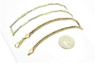Two Antique Gold Filled & Gold Topped Watch Chains
