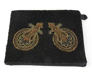 Rosenfeld Black Silk Envelope Clutch Soutache Trim